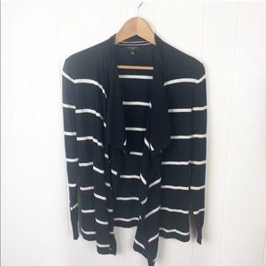 Ann Taylor Navy white Stripes open front cardigan